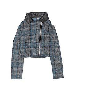 Knit works cropped plaid leather trim jacket